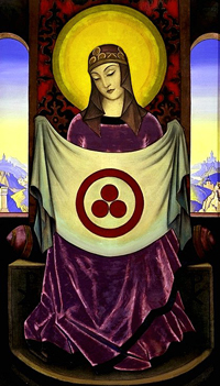 Madonna Oriflamma. 1932. Tempera on canvas, 172.6 x 99.6 cm. Nicholas Roerich Museum, New York, New York