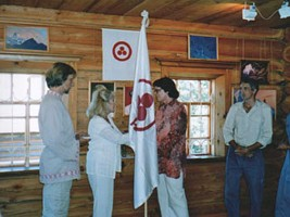Presentation of the Banner of Piece to the Siberian Roerich Society