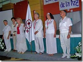 Presentation of the Banner of Peace to Iberica de Luz, Spain.